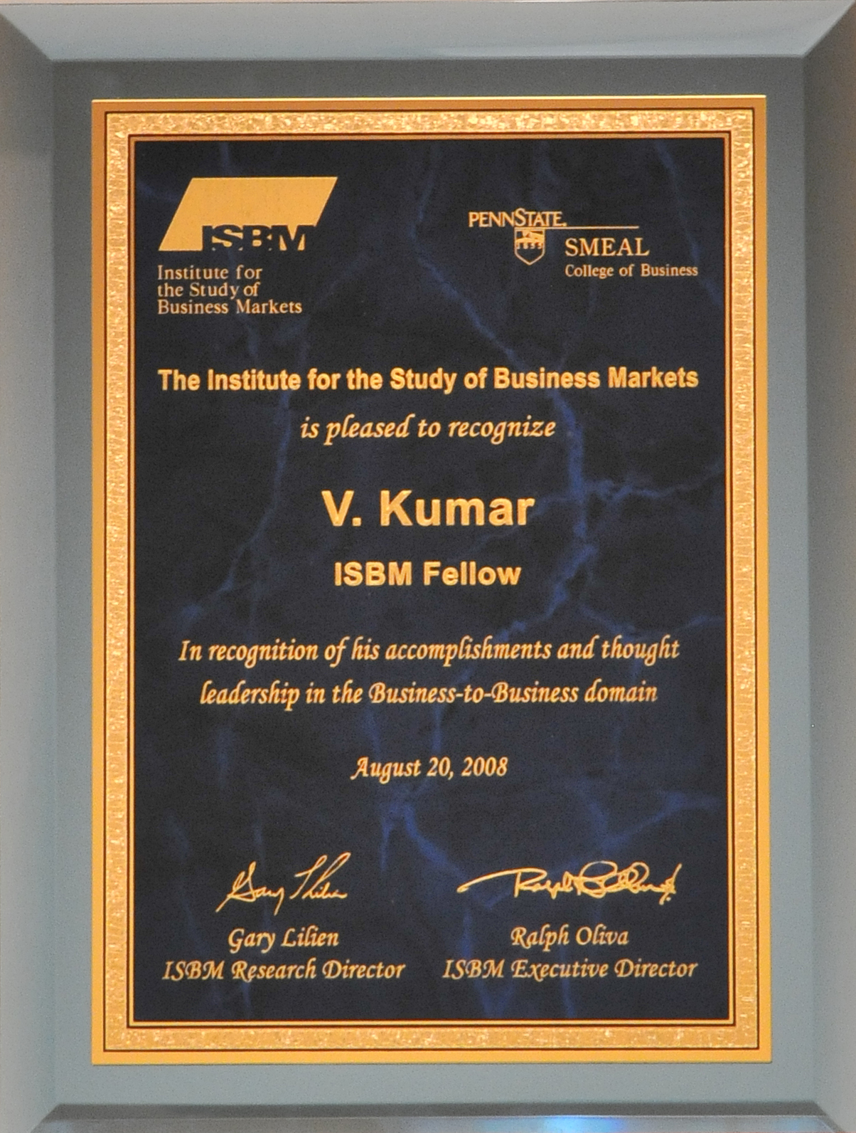 Lifetime award from the Institute of Study for Business Markets at Penn State University